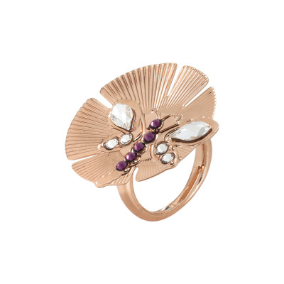 Adjustable ring with flower