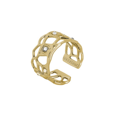 Golden band ring with mesh and Swarovski weave
