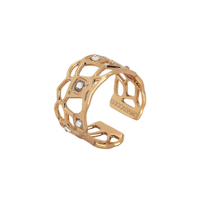 Rosé band ring with mesh and Swarovski weave