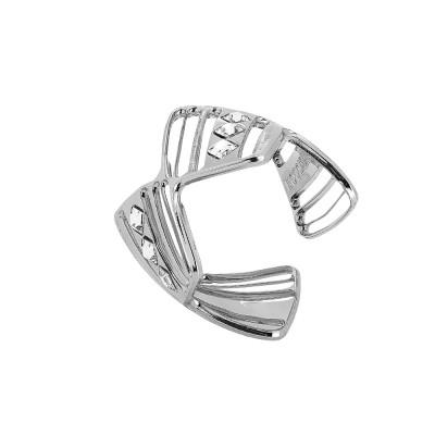 Asymmetrical rhodium-plated ring with Swarovski