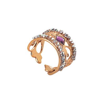Anello a fascia rosato con crystal rock crystal