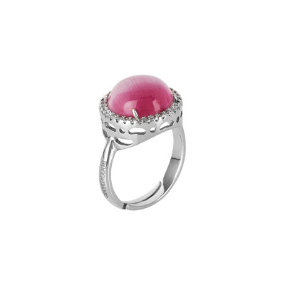 Fuchsia fuchsia cabochon crystal ring with zircons