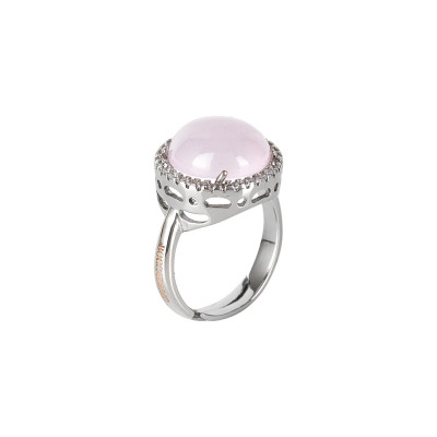 Ring with light pink cabochon crystal and zircons