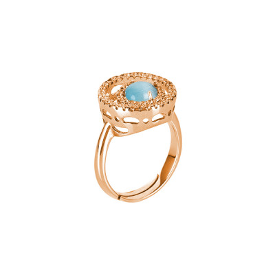 Ring with cubic zirconia base and flecky celestial cabochon