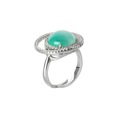 Double base zircon ring and light blue flecked cabochon