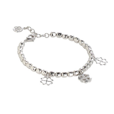 Bracelet beads with charms to clover and zircons