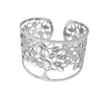Rigid bracelet with tree of life and Swarovski crystal