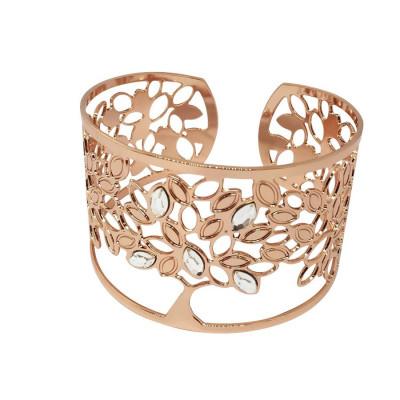 Rigid bracelet rosato with tree of life and Swarovski crystal