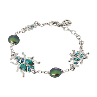 Bracelet with scarab and Swarovski pearls