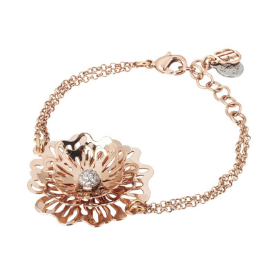 Pink double strand bracelet with wild rose and zircons