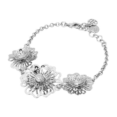 Bracelet with three-dimensional wild roses and zircons