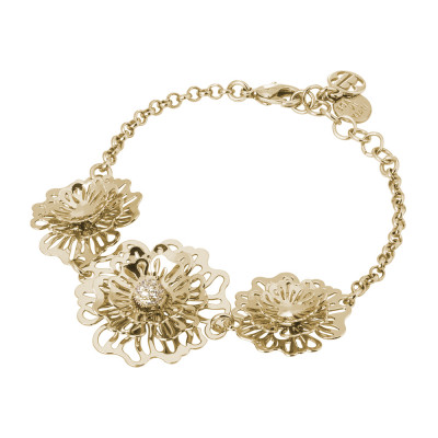 Golden bracelet with three-dimensional wild roses and zircons