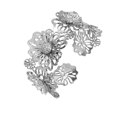 Rigid bracelet with three-dimensional wild roses and zircons