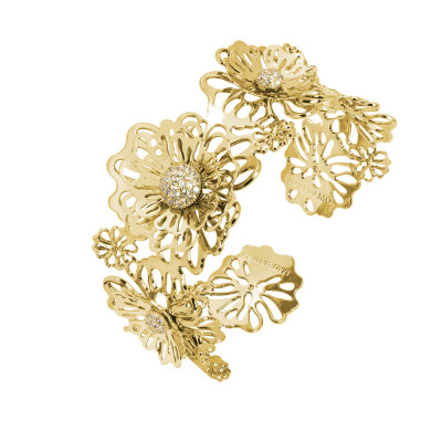 Rigid golden bracelet with three-dimensional wild roses and zircons