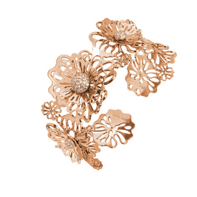 Rigid pink bracelet with three-dimensional wild roses and zircons