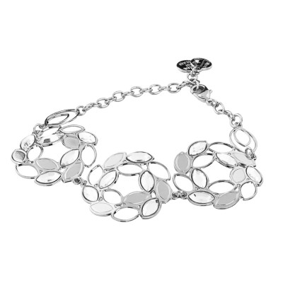 Semi-rigid rhodium-plated bracelet with central decoration in spikes and Swarovski