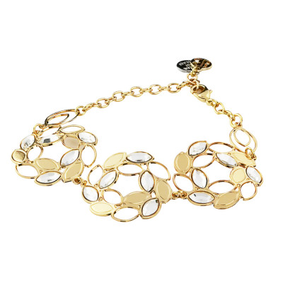Semi-rigid golden bracelet with central decoration in spikes and Swarovski