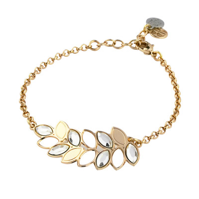 Golden bracelet with central wheat and Swarovski