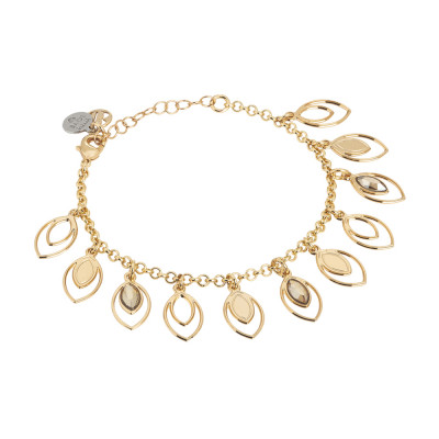 Bracelet with charms of wheat and Swarovski golden shadow