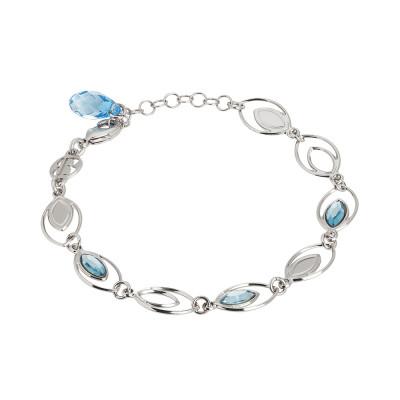 Bracelet with ear of wheat decorated by Swarovski aquamarine
