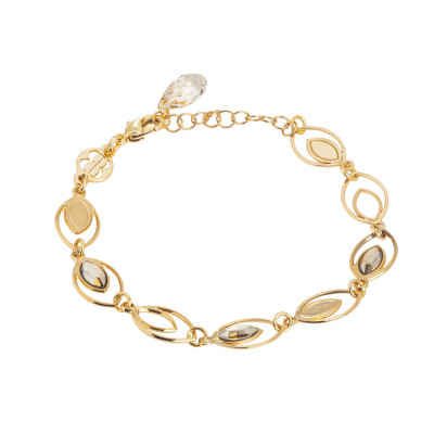 Bracelet with ear of wheat decorated by Swarovski golden shadow