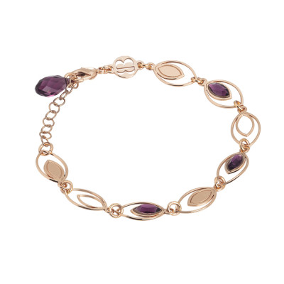Bracelet with ear of wheat decorated by Swarovski amethyst