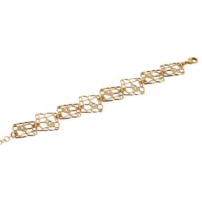 Modular rosé bracelet with mesh and Swarovski weave