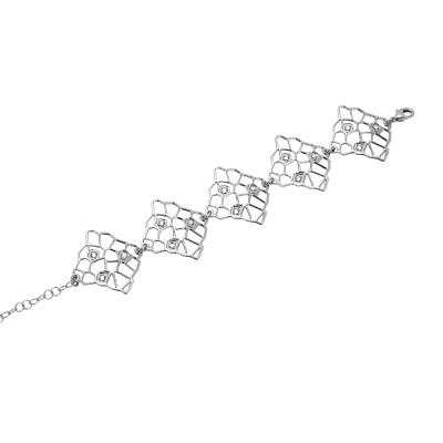 Bracelet with asymmetric modules and Swarovski