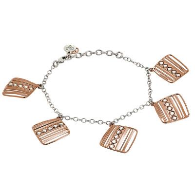 Rosé bracelet with pendants decorated with diamonds of Swarovski crystals