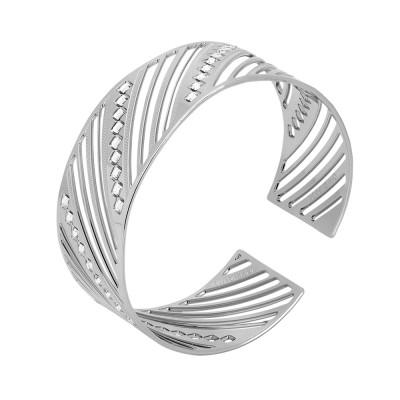 Rhodium-plated band bracelet with diamonds of Swarovski crystals