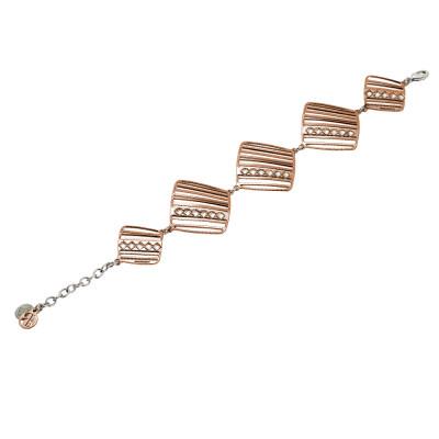 Modular rosé bracelet with diamond-shaped Swarovski crystals