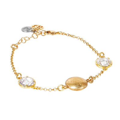 Golden bracelet with crystal crystals and scratched element