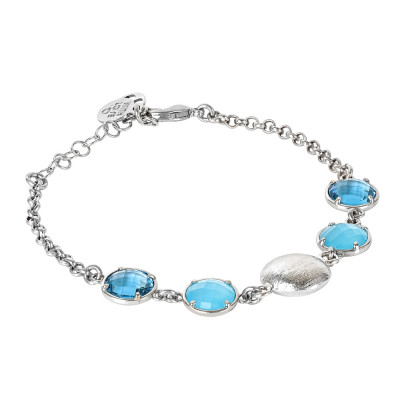 Bracelet with sky crystals, light blue milk and scratched element
