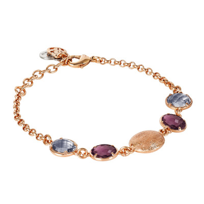 Bracelet with fum crystals, amethyst and scratched element
