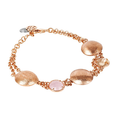 Double strand bracelet with peach crystals and pink quartz milk and scratched elements