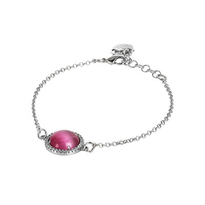 Bracelet with flaming fuchsia cabochon and zircons