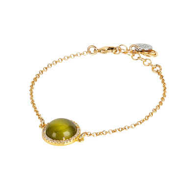Bracelet with green olivine cabochon, flecked and cubic zirconia