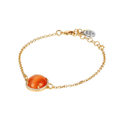 Bracelet with flecked orange cabochon and zircons