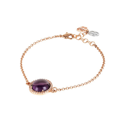 Bracelet with flecked amethyst cabochon and zircons