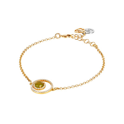 Bracelet with double zircon base and green olivine cabochon