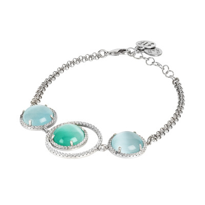 Bracelet with cubic zirconia and light green and light green cabochon