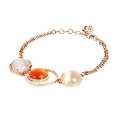 Bracelet with cubic zirconia and orange and beige cabochons