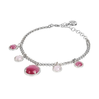 Double strand bracelet with fuchsia and light pink cabochons with zircons