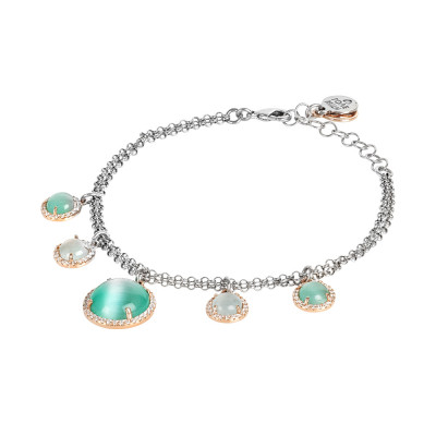 Double strand bracelet with light blue and light blue flecked cabochons and zircons