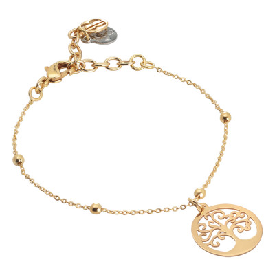 Golden bracelet with tree of life pendant