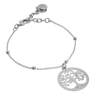 Rhodium plated tree of life bracelet