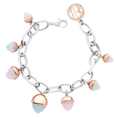 Oval mesh bracelet with rose quartz and aquamarine crystals