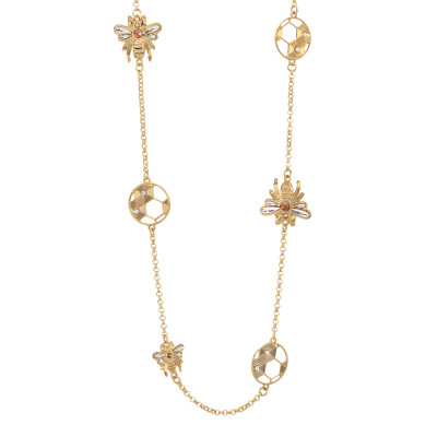 Long necklace with bees and honeycombs decorated by Swarovski