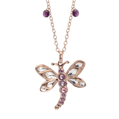 Long necklace with pendant dragonfly and Swarovski