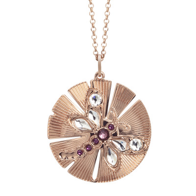 Necklace with a circular pendant decorated with a dragonfly in Swarovski